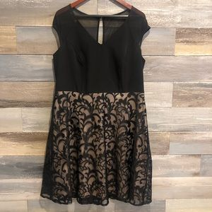 London Style black lace a line dress 16W